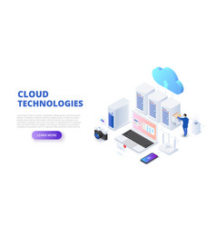 Cloud technologies design concept with people vector