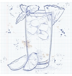 Cocktail mai tai on a notebook page vector