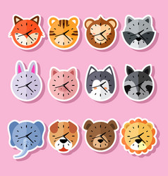 Collection cute clock animal character vector
