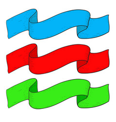 colored ribbon scrolls blue red and green vector image