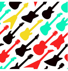 colorful pattern with different shapes guitars vector image
