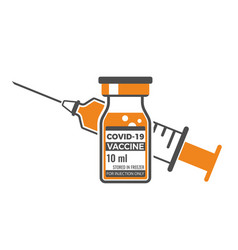 covid19-19 coronavirus vaccine and syringe vector image