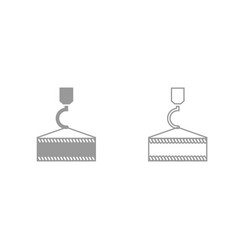 crane hook grey set icon vector image