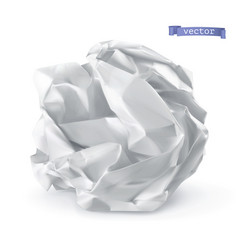 Crumpled paper ball 3d realistic icon vector