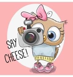 Cute cartoon Owl with a camera vector image