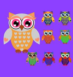cute cartoon owls set for baby showers birthdays vector image