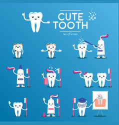 cute happy smiling tooth set vector image