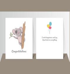 cute koala eating eucalyptus hand drawn doodle vector image
