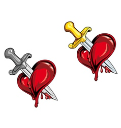 dagger in heart vector image