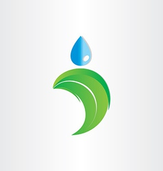 Drop of water on leaf freshness eco symbol vector
