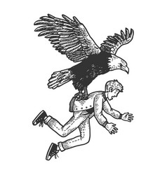 eagle bird kidnaps human sketch engraving vector image