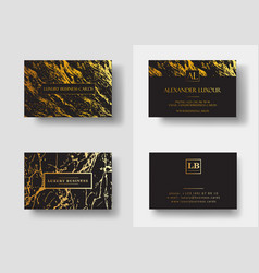 Elegant black luxury business cards with marble vector