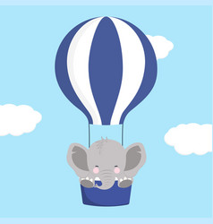 elephant on air balloon vector image
