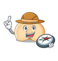 Explorer chickpeas mascot cartoon style vector