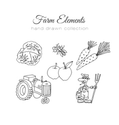 Farming farm elements Hand vector