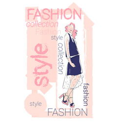 female model wear fashion clothes collection vector image