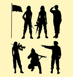 female soldier gesture silhouette vector image