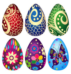 festive set of decorated easter eggs on vector image