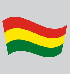 Flag of bolivia waving on gray background vector
