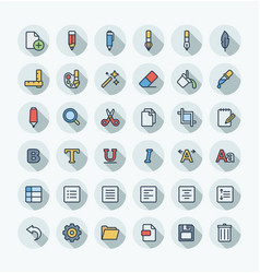 Flat color thin line icons set and graphic vector