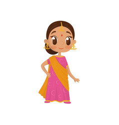 Flat icon of beautiful little girl dressed vector