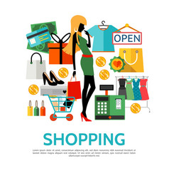 flat shopping icons concept vector image