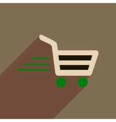 Flat web icon with long shadow cart vector