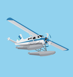 Flying white and blue flying hydroplane vector