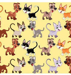 Funny cats and dogs with background vector image vector image