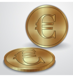 gold coins with euro currency sign vector image