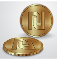 Gold coins with Israeli Sheqel currency sign vector