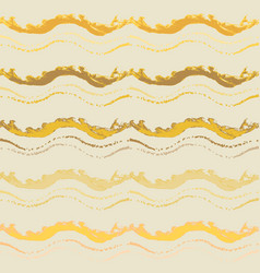 golden seamless pattern with hand drawn waves vector image