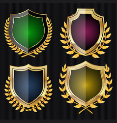 golden shield set with laurel wreath vector image