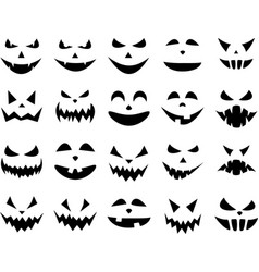 Halloween pumpkin face patterns on white vector