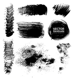 Hand-drawing textures of brush strokes vector image vector image