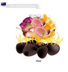 Hangi a traditional new zealand maori dish vector