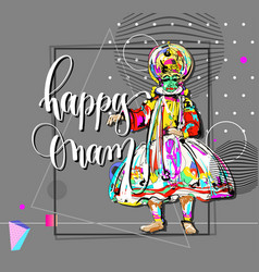 Happy onam modern greeting card in contemporary vector