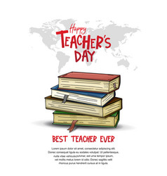 Happy teacher day with big book world map hand vector