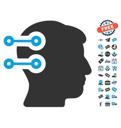 Head connectors icon with free bonus vector