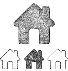 Home icon set - sketch line art vector image
