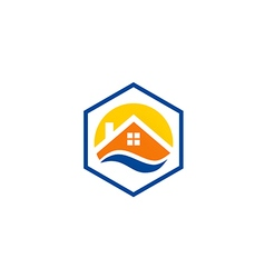 house roof icon abstract protection logo vector image