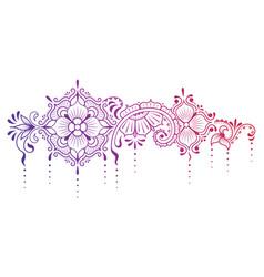 Indian horizontal openwork mehndi pattern henna vector