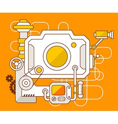 Industrial of the mechanism of photo camera vector