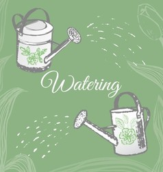 Ink hand drawn garden watering objects vector image