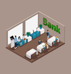 isometric office of the bank bank employees serve vector image