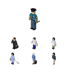 Isometric people set of doctor housemaid male vector
