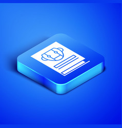 Isometric user manual icon isolated on blue vector