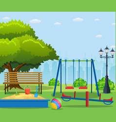 kids playground cartoon concept background vector image