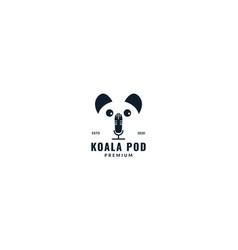 Koala with microphone logo design vector