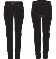 Ladies jean traousers front and back view vector